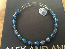 NEW ALEX and ANI Retro Glam SAPPHIRE BLUE SERENITY Beaded SILVER Bangle BRACELET