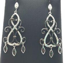 Antique Style Sterling 925 Black Onyx / CZ Swirl Curved Chandelier Post Earrings