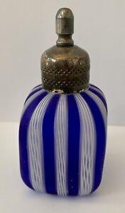 Antique Ribbon Latticino Perfume Bottle Venetian Glass