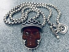 King Baby Studio Carved Crowned Lg Red Agate Skull On A 5MM Night Rider 26 Chain