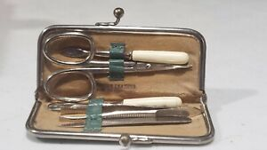 Vintage Miniature Travel Germany MANICURE/PEDICURE Set in Leather Case