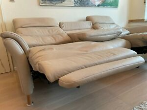 Hochwertiges 3 Sitzer Relax Ledersofa elektrisch verstellbar mit Tischfunktion