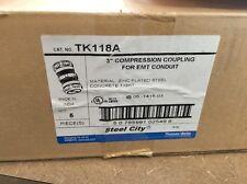 "Lot Of 4 Steel City 3"" Compression Couplings For EMT Conduit"