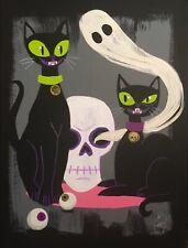 EL GATO GOMEZ RETRO MID CENTURY MODERN BLACK CATS 50'S HALLOWEEN CREEPY WITCH