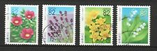 JAPAN 2015 (PREFECTURE) FLOWERS OF HOKKAIDO REPRINT COMP. SET OF 4 STAMPS USED