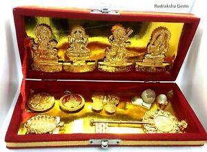 HINDU GOD STATUE YANTRA DIWALI PUJA BOX KUBERA GANESHA LAXMI SARASWATI IDOL COIN