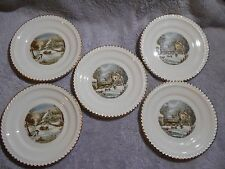 5 Currier and Ives Plates ~ Currier and Ives Lot ~ Winter Pictures ~ Harkerware
