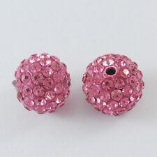 10 trozo de pedrería perlas beads perlas Shamballa rosa 12 mm (1541)