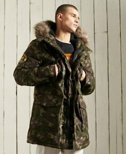 Brand New With Tags Mens Superdry Green Camo Everest Parka Size Medum RRP £129