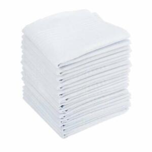 15PC Mens Large White Square Handkerchief 100% Soft Cotton Hankies Hankerchiefs