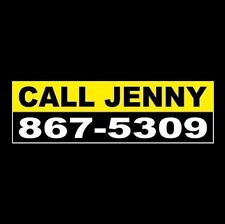 "Funny ""CALL JENNY: 867-5309"" rat rod BUMPER STICKER Tommy Tutone, hot 80's decal"