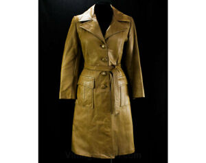 Size 10 Leather Ladies' Coat - Almond Tan Supple Grained 70s Street Style