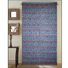 Cotton Tab Top Linen Curtain Panel, Blue Curtain, Hand Block Print Curtain Blue
