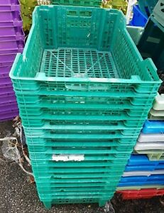 20 x STACKABLE INDUSTRIAL PLASTIC PLIABLE STORAGE CRATE CONTAINERS 600x400x210mm