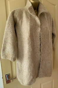 Vintage 90s  oatmeal hand knitted open front cardigan with collar size 10 12
