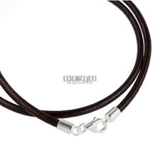 """20"""" Sterling Silver 3mm Very Dark Brown Genuine Leather Cord Necklace, Lobster"""
