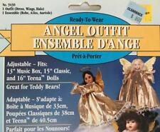 """ANGEL OUTFIT:Gold Dress+Wings+Halo~13""""-16"""" Doll/Bear~Fibre Craft~+Treetop how-to"""