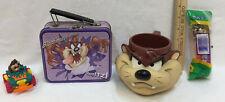 Tazmanian Devil Cartoon Lot of 4 Mug Pez Candy Dispenser Tin Snack Box Toy Car