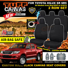 Black TUFF CANVAS S2 Seat Covers for Toyota Hilux SR5 SR Dual Cab 2ROW 2005-15
