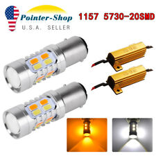 2x White/Amber Switchback 1157 20-SMD LED Lamps Turn Signal 1152 7528+Resistors