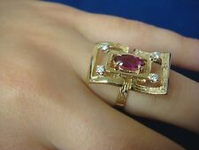 DESIGNER  14K YELLOW GOLD RUBY & DIAMONDS LADIES COCKTAIL RING 0.77 CT T.W.