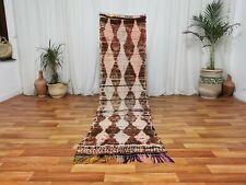 """Old Moroccan Handmade Runner Rug 2'3""""x7'7"""" Vintage Brown Ivory Handmade wool Rug"""