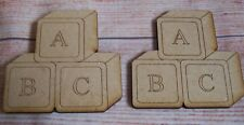 3x Baby Building Blocks MDF Craft Blank Shape  wooden tags scrapbooking