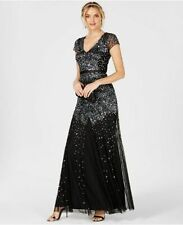 $502 ADRIANNA PAPELL WOMEN'S BLACK SEQUINED CAP-SLEEVE V-NECK GOWN DRESS SIZE 4