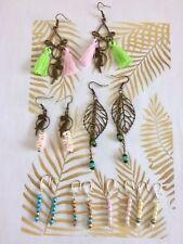 Destockage Lot de 7 paires de boucles d'oreille perles, pompon, breloques neuves