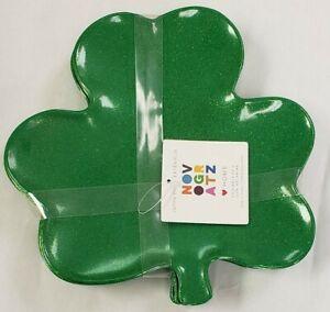NWT NOVOGRATZ Set 4 Shamrock Green Gold Sparkle St. Patrick's Day Melamine Plate