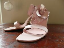 Vintage Faith Pale Nude Pink Ankle Strappy Sandals Flower Summer  Wedding Sz 7