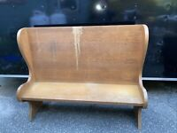Vintage Oak Pew Tall Back Country Bench Rustic Wood Church Deacon Style