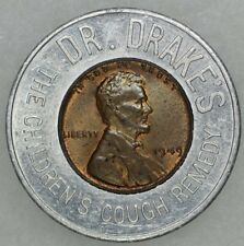 1949 Lincoln Wheat Encased Cent Dr. Drakes Cough Remedy