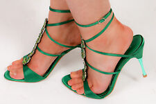 River island emerald green diamante lace up strap evening shoes metal heel sz 5