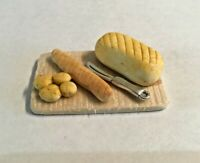 Dolls House Food Bread Board / Chopping Board with Knife and Bread Handmade
