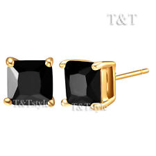 TT 6mm 18K Gold GP Black CZ Square Stud Earrings ES02D(6)