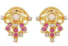 1.30ctw Ruby & Pearl Earrings Solid 22K Yellow Gold