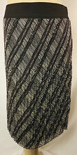 W.Lane Black Ivory Stripe Poly Straight Crinkle Pleat Skirt Size 10 BNWT # Z96