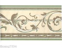 Metallic Gold Shiny Sage Green Cream Acanthus Leaf Scroll Wall paper Border
