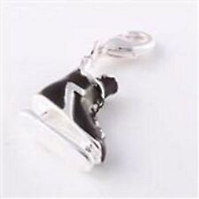 LOVELY SILVER & BLACK ICE SKATE BOOT CLIP  ON CHARM- 3D - SILVER PLATE