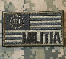 MILITIA THREE 3% PERCENTER USA FLAG 2A MORALE ACU LIGHT VELCRO® BRAND PATCH