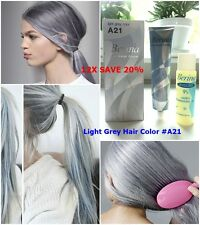 12X A21 HAIR COLOR LIGHT GREY BERINA  PERMANENT HAIR DRY CREAM FASHION UNISEX