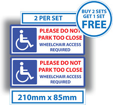2 X Disabled Stickers Wheelchair Access Required Parking Sticker 210mm X 85mm
