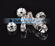 100pcs 6mm Crystal Rhinestone Glass Rondelle Charms Silver Loose Spacer Beads