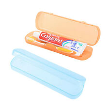 2pc Portable Toothbrush Case For Travel Plastic Toothpaste Storage Box Organizer