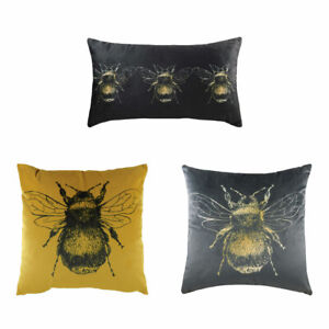 Evans Lichfield Gold Bee Faux Velvet Cushion Cover