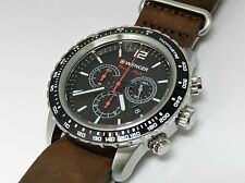 Wenger 0853.106 Nero Notte Orologio Cronografo Da Uomo, Cinturino Nato Vintage, Swiss M