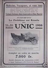 PUBLICITÉ 1908 AUTOMOBILES UNIC CONSTRUIT PAR GEORGES RICHARD - ADVERTISING