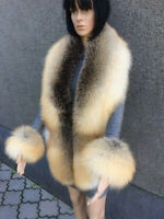 Golden Island Fox Fur Stole 78' With Transforming Scarf / Wristbands / Tails
