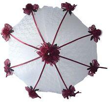"32"" Bridal Shower Wedd burgundy  roses UMBRELLA PARASOL"